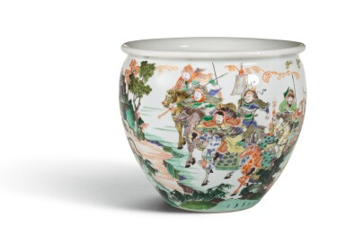 View 2. Thumbnail of Lot 15. A WELL PAINTED FAMILLE-VERTE 'WATER MARGIN' JARDINIERE, QING DYNASTY, KANGXI PERIOD   清康熙 五彩水滸傳故事圖缸.