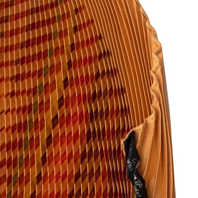 View 7. Thumbnail of Lot 190. HERMÈS | PLISSE SILK SCARF 90 IN ORANGE/RED ACCORDIAN PLEAT FAUBOURG EXPRESS PRINT. DESIGNED BY DIMITRI RYBALTCHENKO, 2009.