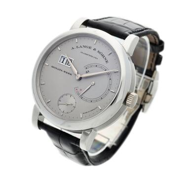 View 2. Thumbnail of Lot 293. Reference 130.025F Lange 31  A platinum wristwatch with date and power reserve indication, Circa 2010 .