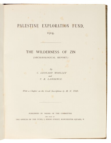 View 1. Thumbnail of Lot 99.  LAWRENCE, T.E.   Palestine Exploration Fund, 1914. The Wilderness of Zin..., 1914.