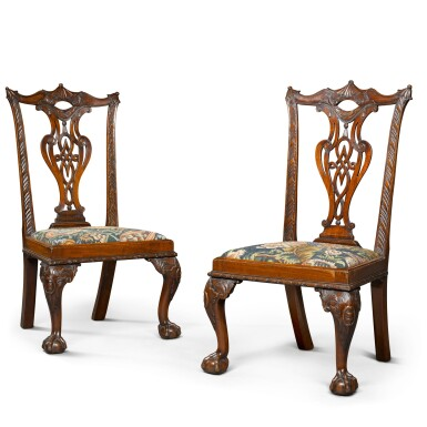 View 2. Thumbnail of Lot 71. A pair of George II carved mahogany 'child's' chairs, circa 1750.
