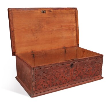 View 8. Thumbnail of Lot 59. Very Fine and Rare Pilgrim Century Red-Painted Carved Oak and Yellow Pine Document Box, attributed to John Moore I, Windsor, Connecticut, circa 1685.