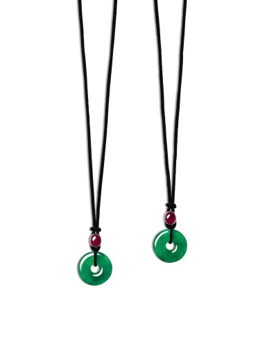 View 1. Thumbnail of Lot 1723. Pair of Jadeite Hoop and Ruby Pendent Necklaces | 天然翡翠雕「平安扣」配 紅寶石 項鏈一對.