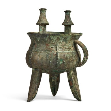 View 4. Thumbnail of Lot 11. An exceptional and rare archaic bronze ritual wine vessel (Jia), Late Shang dynasty | 商末 䖵崠耒斝.