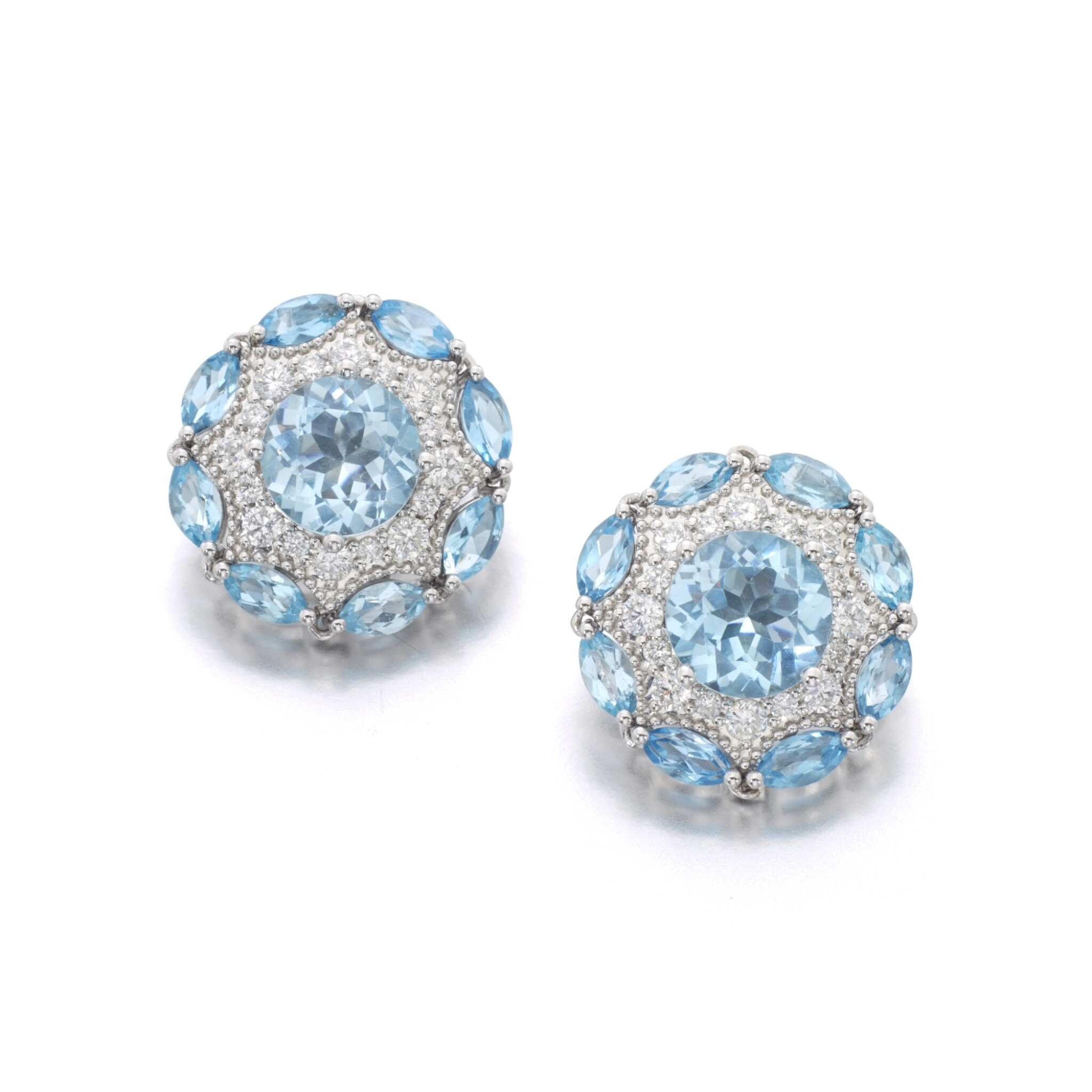 View full screen - View 1 of Lot 131. JAMES GANH | PAIR OF TOPAZ AND DIAMOND EARRINGS.