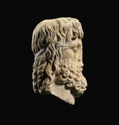 View 3. Thumbnail of Lot 32. A ROMAN MARBLE HEAD OF SARAPIS, CIRCA 2ND CENTURY A.D., ON 19TH CENTURY HERM SHOULDERS.