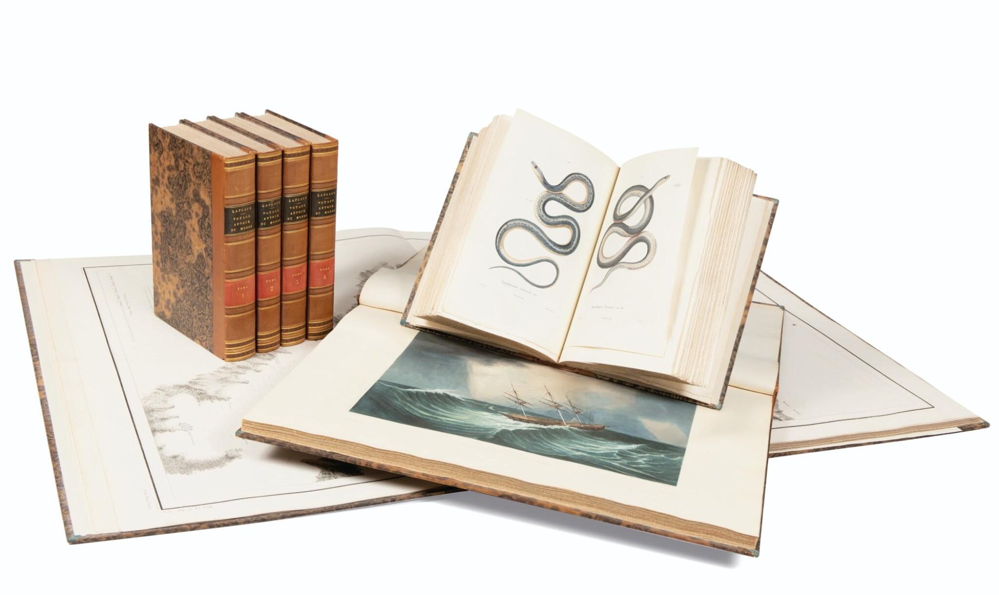 View full screen - View 1 of Lot 215. LAPLACE. Voyage autour du monde de l'Inde et de Chine. 1833-1840. 7 volumes, dont 2 atlas et Zoologie..
