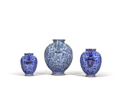 View 2. Thumbnail of Lot 6. Three Italian maiolica syrup jars, probably Montelupo or perhaps Venice, circa 1580 and circa 1620.