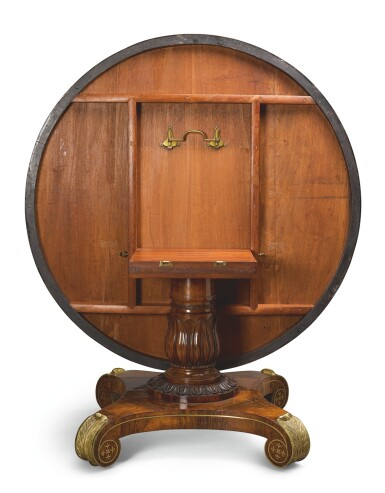 View 4. Thumbnail of Lot 17. A GEORGE IV GILT-BRASS MOUNTED AND INLAID ROSEWOOD CENTER TABLE, CIRCA 1820.