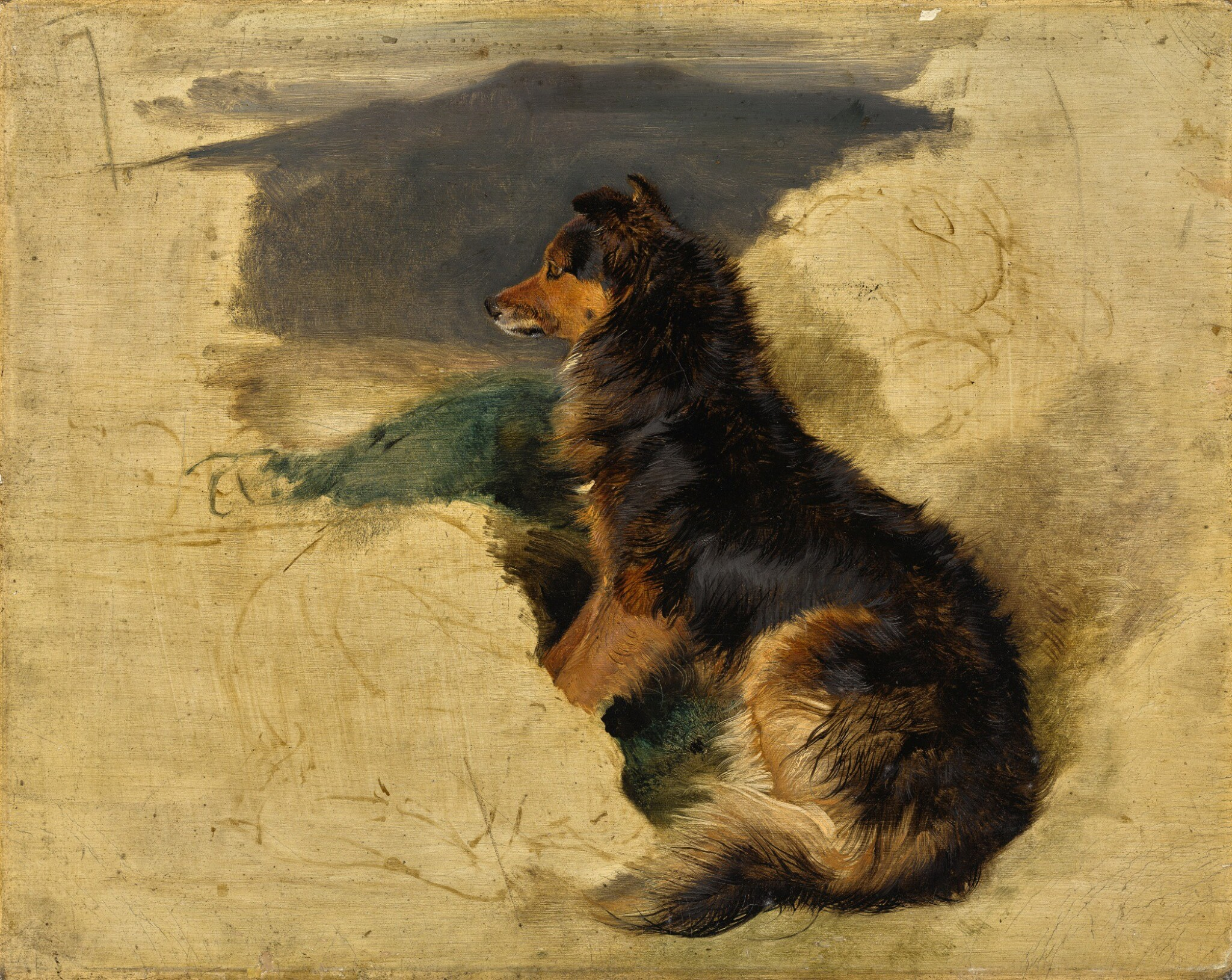 View full screen - View 1 of Lot 37. SIR EDWIN HENRY LANDSEER, R.A.   Study of a Scotch Collie (recto); Study of William Russell with a falcon and a hound (verso)   艾德文・亨利・蘭希爾爵士,R.A.   《蘇格蘭牧羊犬(習作)》(正面);《威廉・羅素與獵鷹和狗(習作)》(背面) .