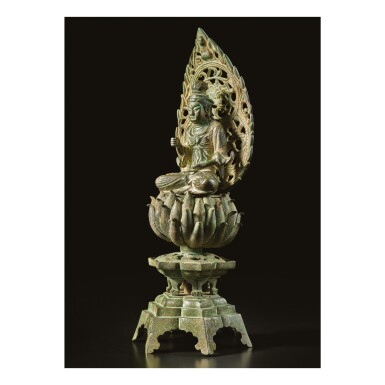 View 2. Thumbnail of Lot 584. A BRONZE FIGURE OF A SEATED BODHISATTVA,  FIVE DYNASTIES, WUYUE KINGDOM.