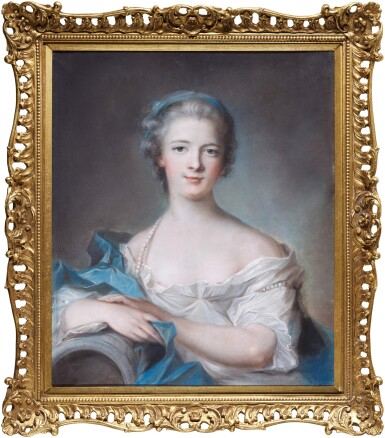 View 2. Thumbnail of Lot 62. Portrait of a lady wearing a blue headband and pearls.