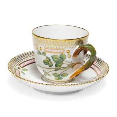 View 4. Thumbnail of Lot 6. Six Royal Copenhagen 'Flora Danica' Demi-Tasse Cups and Saucers, Modern.
