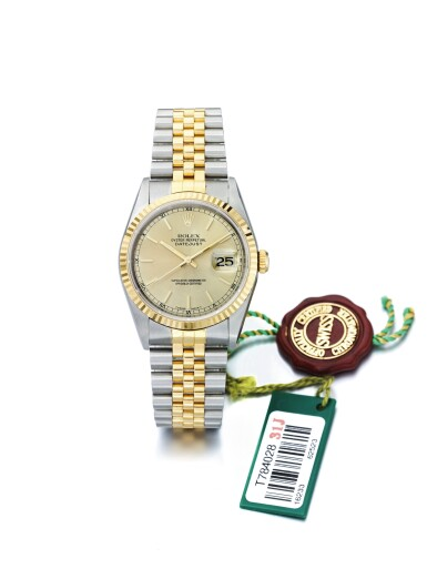 ROLEX | DATEJUST REF 16233, A STAINLESS STEEL AND YELLOW GOLD AUTOMATIC CENTER SECONDS WRISTWATCH WITH DATE AND BRACELET WITH ER INSCRIBED CASE BACK CIRCA 1996