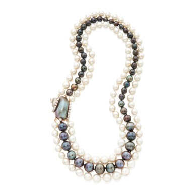 CULTURED PEARL, SHELL AND DIAMOND 'NAUTILUS' NECKLACE, SEAMAN SCHEPPS