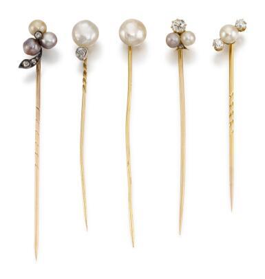 FIVE PEARL STICK PINS