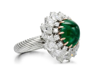 View 2. Thumbnail of Lot 83. EMERALD AND DIAMOND RING.