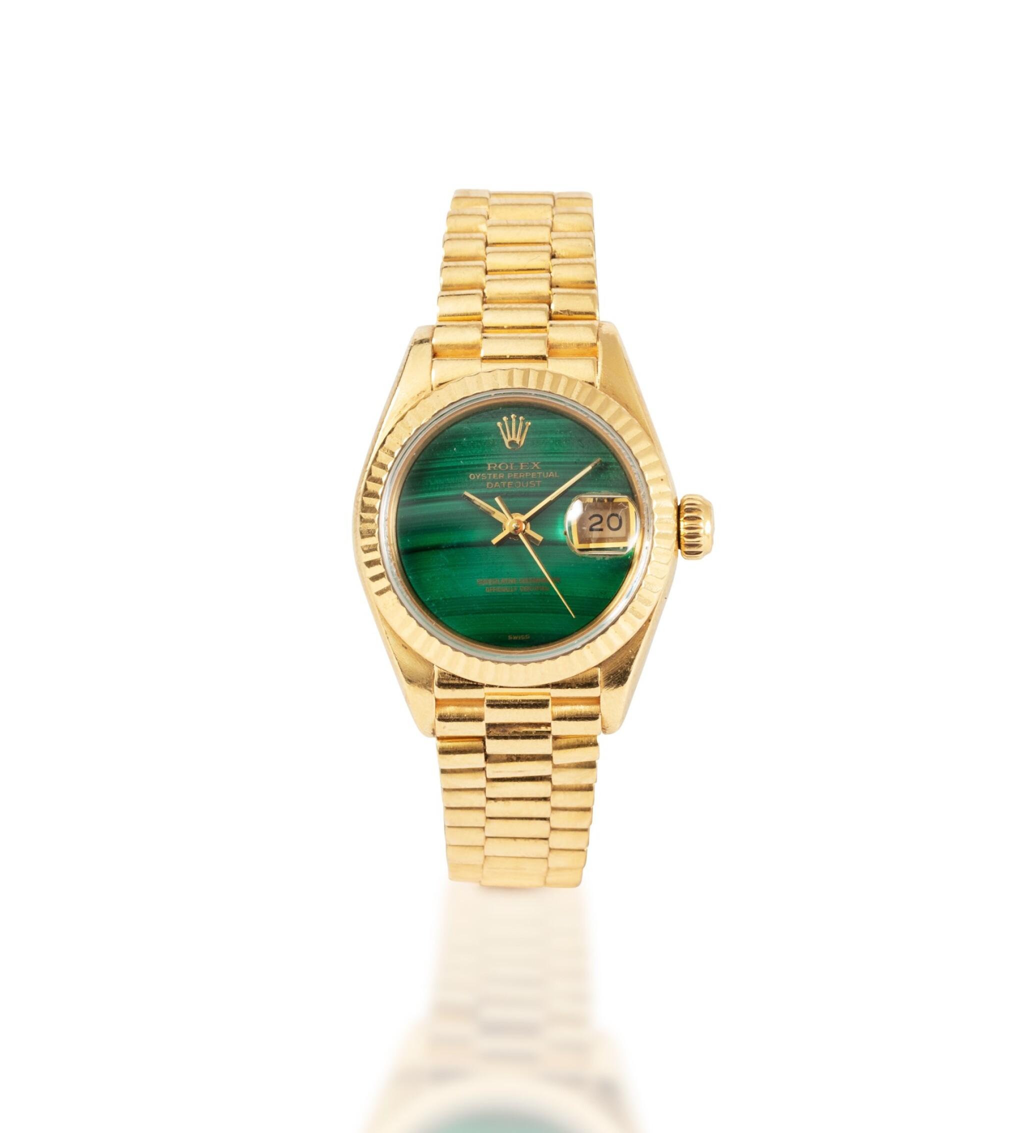 View full screen - View 1 of Lot 77. Rolex | Montre bracelet de dame or et malachite | Gold and malachite lady's bracelet watch.
