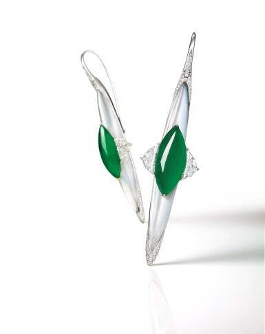 View 2. Thumbnail of Lot 1644. FORMS |Pair of Jadeite, Diamond and Moonstone Pendent Earrings | FORMS | 天然翡翠 配 鑽石 及 月光石 耳墜一對.