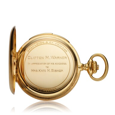 View 6. Thumbnail of Lot 98. Retailed By Spaulding & Co.: A yellow gold minute repeating hunting cased watch, Made in 1903.