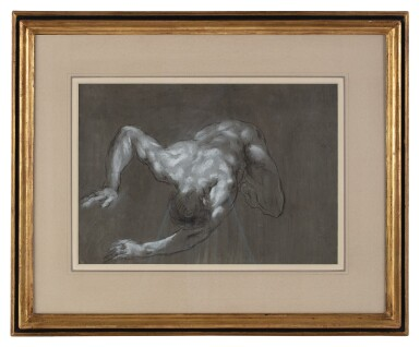 View 3. Thumbnail of Lot 107. FRANCESCO MONTI  |  RECTO: A CROUCHING MAN, SEEN FROM ABOVE; VERSO: STUDY OF LEGS.