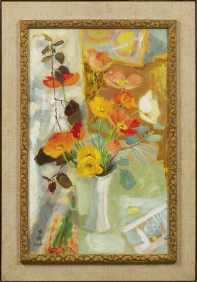 View 2. Thumbnail of Lot 255. LE PHO 黎譜 | POPPIES AU VASE BLANC (POPPIES IN A WHITE VASE) 白色花瓶裡的罌粟花.