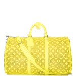 Louis Vuitton Yellow Keepall Bandoulière 50 of Mesh with Silver Tone Hardware