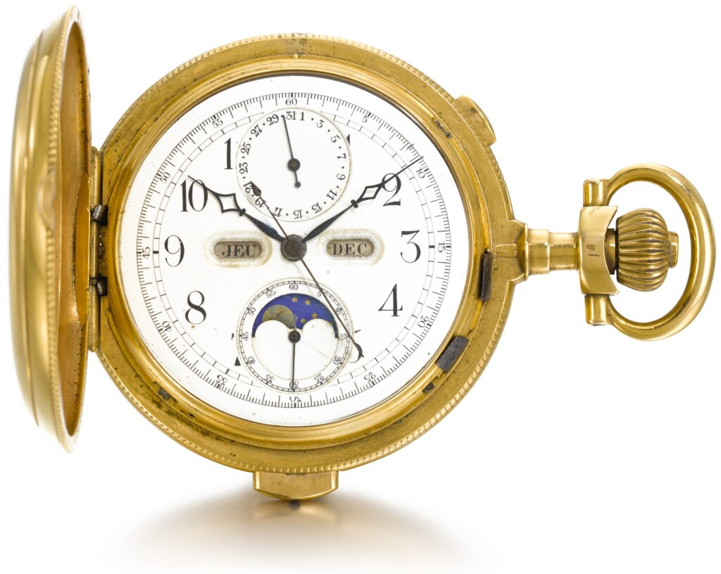 SWISS | RETAILED BY JUAN SABALAIN, BUENOS AIRES: A GOLD HUNTING CASED FIVE-MINUTE REPEATING KEYLESS LEVER WATCH WITH CHRONOGRAPH, CALENDAR AND MOON PHASES  CIRCA 1900
