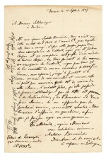 [F. Chopin]--autograph letter by Chopin's brother-in-law Antoine Barcinski, about the 17 Polish Songs op.74, 1857