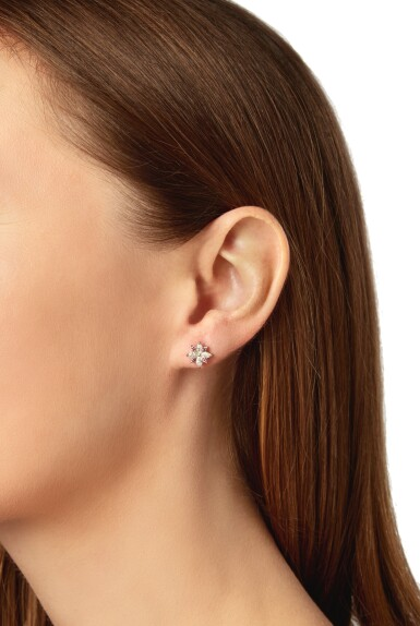 PAIR OF COLORED DIAMOND AND DIAMOND EARRINGS, TIFFANY & CO.