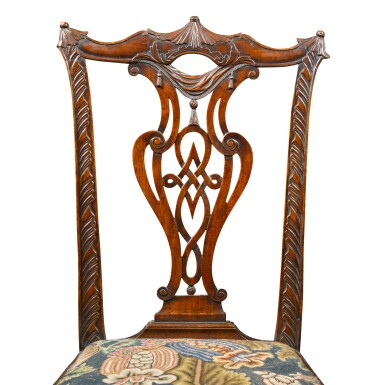View 3. Thumbnail of Lot 71. A pair of George II carved mahogany 'child's' chairs, circa 1750.