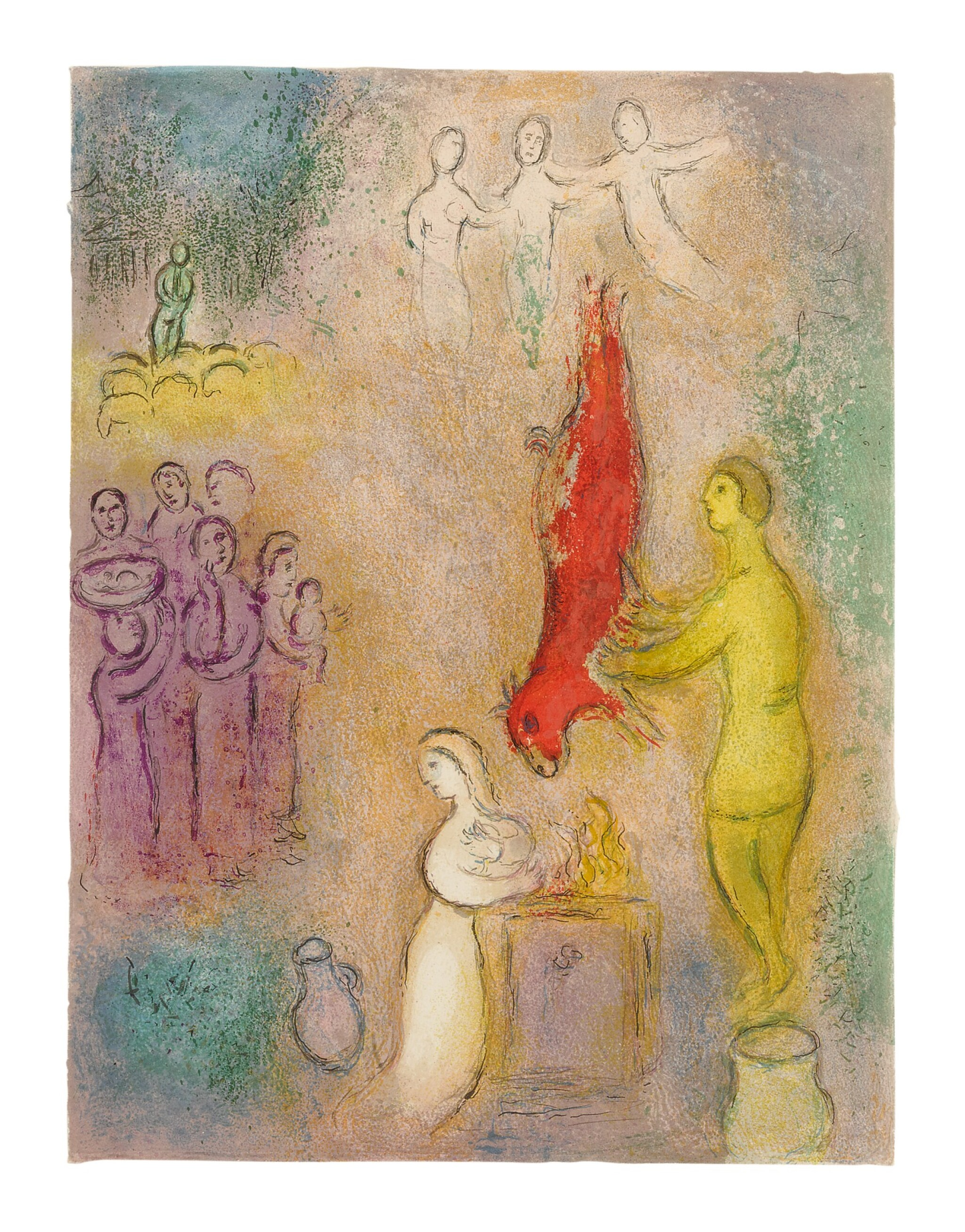 View full screen - View 1 of Lot 15. MARC CHAGALL   SACRIFICES MADE TO THE NYMPHS (M. 330; SEE C. BKS. 46).