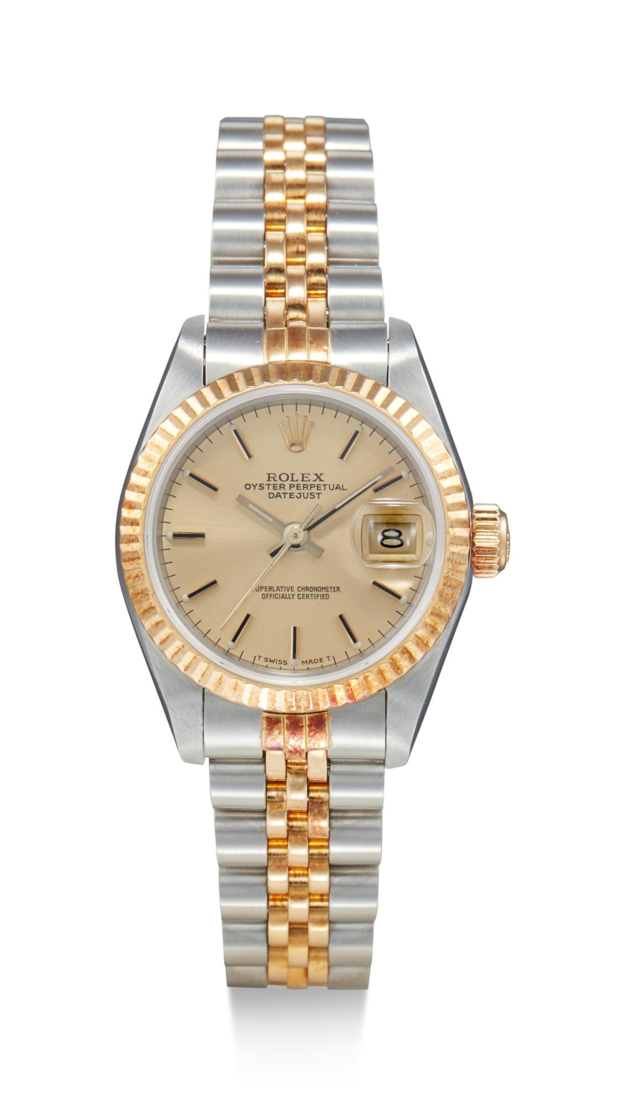 View full screen - View 1 of Lot 8095. ROLEX   DATEJUST, REFERENCE 69173, A STAINLESS STEEL AND YELLOW GOLD WRISTWATCH WITH DATE AND BRACELET, CIRCA 1988.