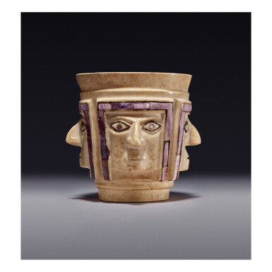 WARI STONE CUP OF FOUR FACES MIDDLE HORIZON, CIRCA AD 700-1000
