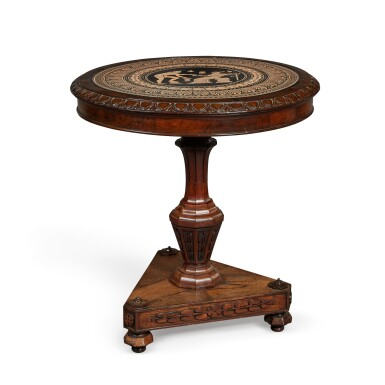 View 1. Thumbnail of Lot 43. AN EARLY VICTORIAN NEOCLASSICAL CERAMIC INSET ROSEWOOD CENTRE TABLE, CIRCA 1853, THE CERAMIC PANEL ATTRIBUTED TO W. T. COPELAND.