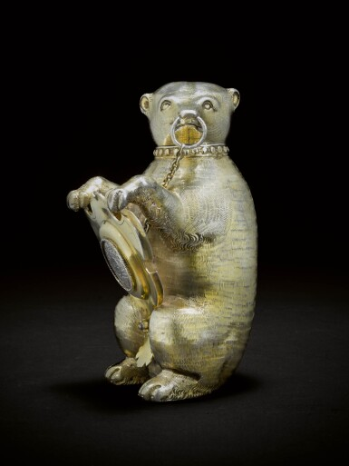 View 3. Thumbnail of Lot 6. A German silver-gilt cup and cover in the form of a bear, maker's mark only MV conjoined (the shield Melchior Bair), Augsburg, circa 1600.