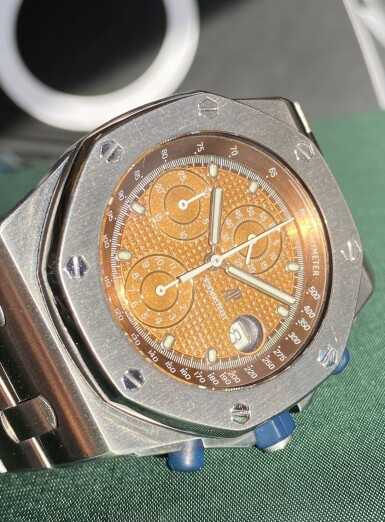 View 7. Thumbnail of Lot 333. 'THE BEAST' ROYAL OAK OFFSHORE, REF 25721ST STAINLESS STEEL CHRONOGRAPH WRISTWATCH WITH DATE, TROPICAL DIAL AND BRACELET CIRCA 2001.