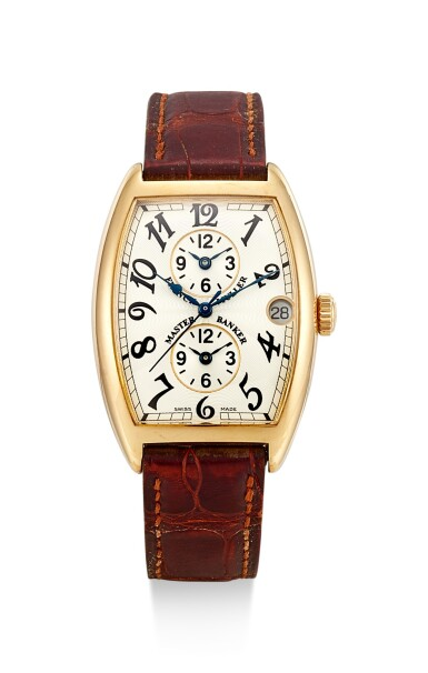 FRANCK MULLER | MASTER BANKER, REFERENCE 2852 MB, A PINK GOLD TRIPLE TIME ZONE WRISTWATCH WITH DATE, CIRCA 2000