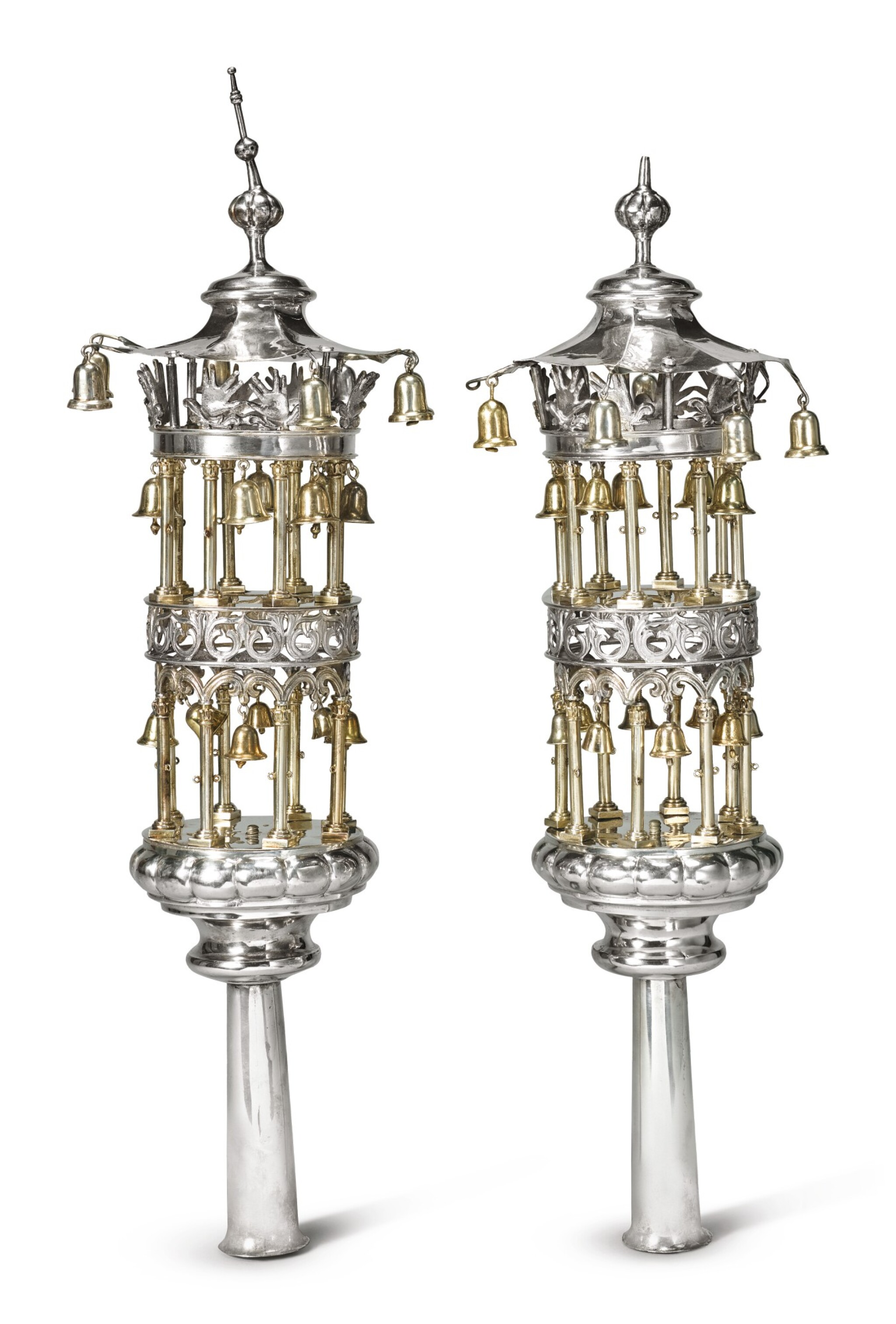 View full screen - View 1 of Lot 103. A PAIR OF GERMAN PARCEL-GILT SILVER TORAH FINIALS, POSSIBLY BERLIN, CIRCA 1820-40.