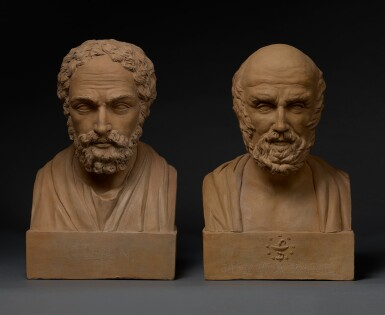 View 1. Thumbnail of Lot 10. FRANCE   PAIR OF BUSTS OF GALEN AND HIPPOCRATES.