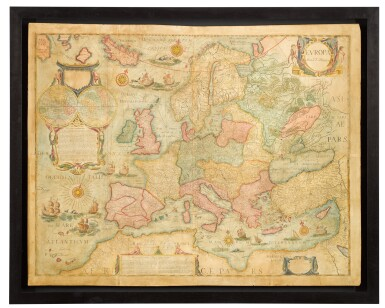 View 3. Thumbnail of Lot 39. Willem Blaeu | A set of four wall maps of the continents, 1673 or later.