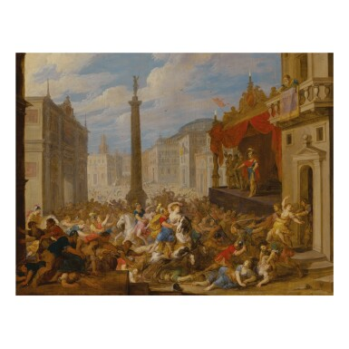 VINCENT MALO | ABDUCTION OF THE SABINE WOMEN, IN AN IMAGINED ROMAN ARCHITECTURAL SETTING