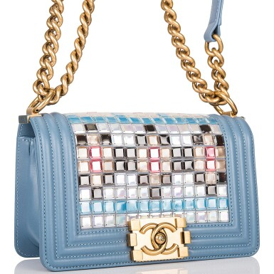 View 2. Thumbnail of Lot 29. Chanel Blue Metiérs d'Art Mosaic Embroidered Small Boy Bag of Lambskin Leather with Antiqued Gold Tone Hardware.