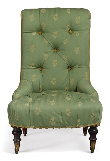 View 3. Thumbnail of Lot 93.  A GREEN UPHOLSTERED LOW CHAIR.