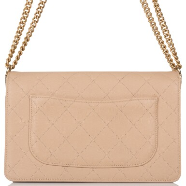 View 6. Thumbnail of Lot 97. CHANEL    BEIGE FLAP BAG OF QUILTED CAVIAR AND SUEDE WITH MATTE GOLD TONE HARDWARE.