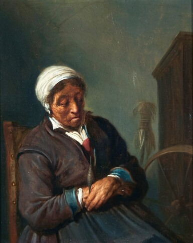 FOLLOWER OF ADRIAEN JANSZ VAN OSTADE | An old woman seated by a spinning wheel