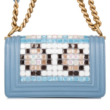 View 4. Thumbnail of Lot 29. Chanel Blue Metiérs d'Art Mosaic Embroidered Small Boy Bag of Lambskin Leather with Antiqued Gold Tone Hardware.
