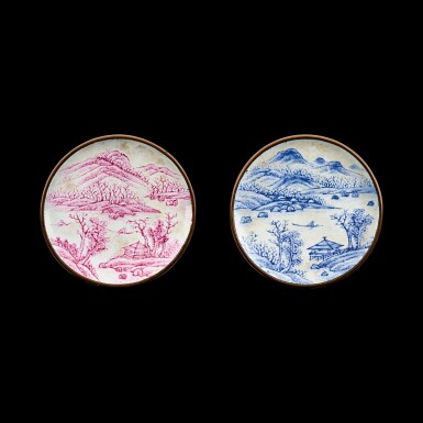 View 1. Thumbnail of Lot 1033. A pair of Canton enamel 'Tang Yin landscape' snuff dishes Seal marks and period of Qianlong   清乾隆 銅胎廣東畫琺瑯倣唐寅山水圖鼻煙碟一對 《乾隆年製》款.