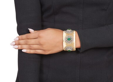 View 3. Thumbnail of Lot 398. Buccellati | Gold, Emerald and Diamond Cuff-Bracelet.