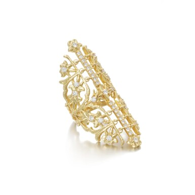 View 2. Thumbnail of Lot 112. Gold and diamond ring.